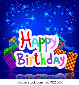 Festive blue background with gifts fireworks. Happy birthday. Vector illustration.