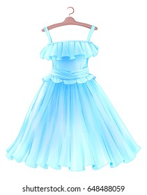 Festive  blue dress for girl. Princess style