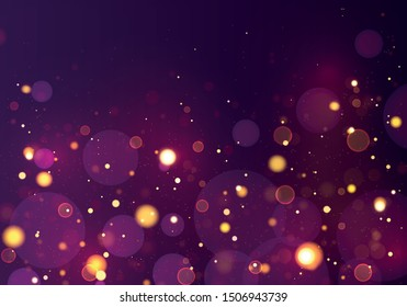 Festive blue, purple, golden luminous background with colorful lights bokeh. Christmas concept Xmas greeting card. Magic holiday poster, banner. Night bright gold yellow sparkles Vector Light abstract