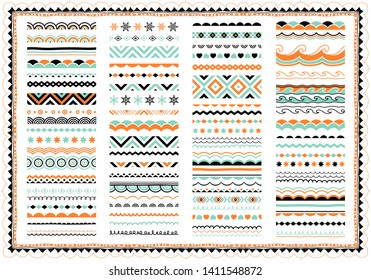 Festive border, pattern set. Great collection of greeting borders, ornaments, brush strokes, lines. Abstract geometric dividers, design elements.
