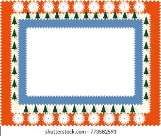 Festive border template with snowflakes and Christmas trees