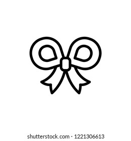 Festive Bowknot line icon. Decoration on gift box, element of party outfit, decor in christmas and other holidays concept symbol. Accessory for ceremony linear logo. Vector illustration isolated