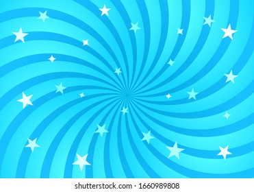 Festive bright background of a swirling swirl spiral with stars. Rotating sunbeams in a comic style. vector illustration