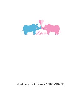 Festive bright beautiful card with rhinos in love on a white background. Design for web sites and greeting cards.