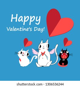 Festive bright beautiful love card with cats in love and hearts on a blue background