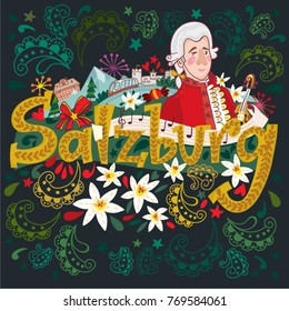 Festive and Bright illustration of Salzburg symbols.