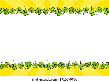 Festive bright rectangular frame made from casually hand-drawn clovers. Yellow Template for Saint Patrick's day party, irish, photo album, greeting card. Vector illustration in pop art style