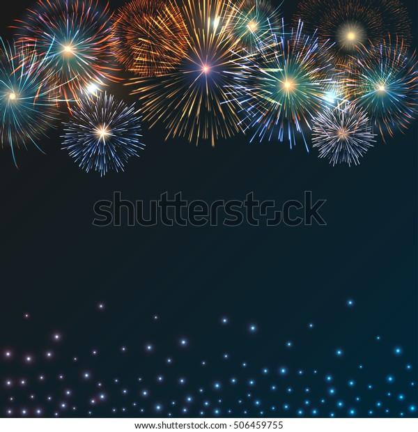 Festive brightly colorful fireworks bursting on dark blue twilight. Vector background