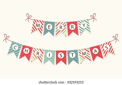 Festive bunting flags with letters Merry Christmas in traditional colors for your decoration