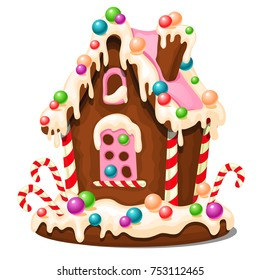 Festive cake in shape of village house decorated in Christmas style isolated on white background. Sweet festive pastries. Gingerbread house. Sketch for greeting card, festive poster. Vector cartoon.