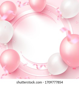 Festive card design with white frame, pink and white balloons, falling confetti on rosy background. Design for the feast of Women's Day, Mother's Day. Birthday, anniversary, wedding, banner template