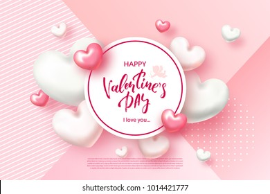 Festive Card for Happy Valentine's Day. Background with Realistic Hearts, confetti. Vector Illustration