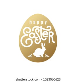 """Festive card with the inscription """"Happy Easter"""" and the silhouette of the Easter Bunny. Gold foil on the white background. Vector illustration art."""