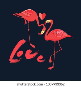 Festive card in love with red flamingos with a heart on a dark background