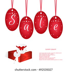 Festive card with red tags and the word sale, two boxes with bows. Suitable for web design and print. Vector