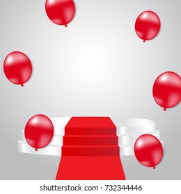 Festive celebration background with white stage podium and red balloon. Vector