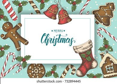 "Festive Christmas background with hand drawn holly leaves, bells, gingerbread, and christmas sock. Greeting hand made quote ""Merry Christmas"". Sketch. Vector. Banner, poster, flyer, brochure."