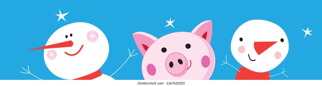 Festive Christmas banner with a pink vector funny pig and snowmen on a blue background. Flat design icons.
