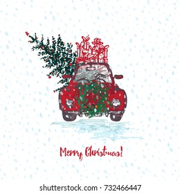 Festive Christmas card. Red car with fir tree decorated red balls and gifts on roof. White snowy seamless background and text Merry Christmas. Vector illustrations
