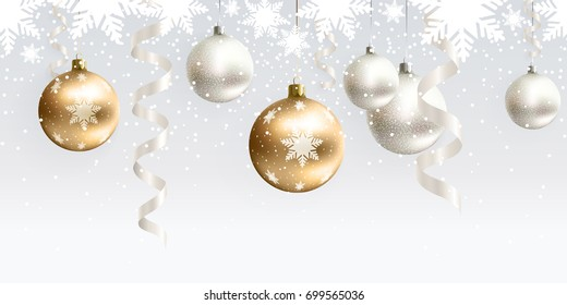 Festive Christmas decoration for website, social networks, blog or your video channel. Light seamless horizontal pattern. The endless tape. Vector. EPS10. White and gold christmas balls and serpentine
