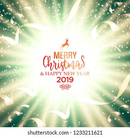 Festive Christmas golden background greeting card with glow, shiny, stars, ribbons and wishes