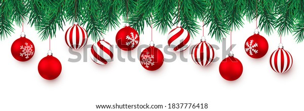 Festive Christmas or New Year Background. Christmas Tree Branches and xmas red ball. Vector illustration.