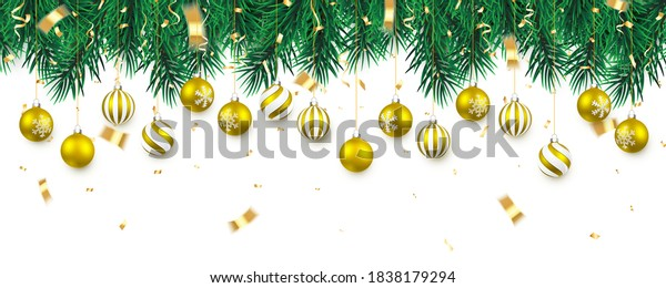 Festive Christmas or New Year Background. Christmas tree branches with confetti and xmas gold balls. Holiday's Background. Vector illustration.