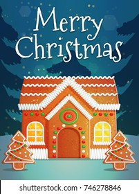 Festive Christmas and New Year card invitation banner template, traditional snowy outdoor scene, christmas gingerbread house and fir trees with icing.