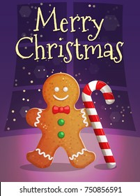 Festive Christmas and New Year card invitation banner template, traditional cozy warm home scene, gingerbread man with candy cane on the table.