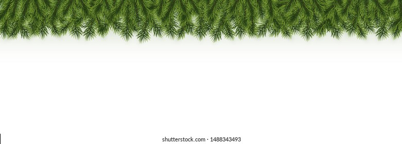 Festive Christmas or New Year garland. Christmas Tree Branches. Holiday's Background. Vector illustration.