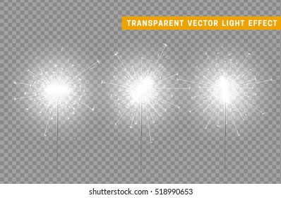 Festive Christmas sparkler decoration lighting element. Sparkler vector firework. Magic light isolated effect. For the background of the holiday and birthday