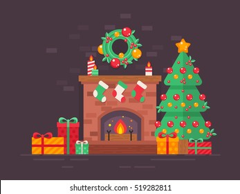 Festive Christmas tree and decorated fireplace card in flat style isolated on dark background for season's greetings and New Year invitations