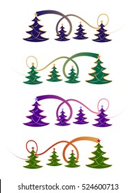 Festive Christmas tree design in four different colour styles
