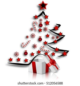 Festive Christmas tree and gifts