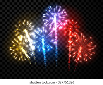 Festive color firework background. Vector illustration.