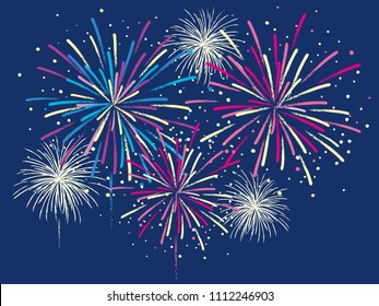 Festive color firework. Vector illustration.