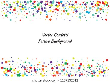 Festive color square confetti background. Abstract frame confetti texture for holiday, postcard, poster, website, carnival, birthday, children's parties. Cover confetti mock-up. Wedding card layout
