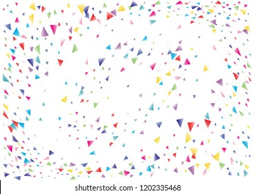 Festive color triangle confetti background. Abstract frame confetti texture for holiday, postcard, poster, website, carnival, birthday, children's parties. Cover confetti mock-up. Wedding card layout