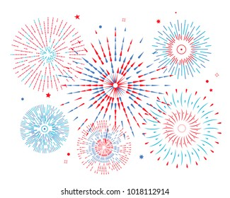 festive colored fireworks. flat vector illustration