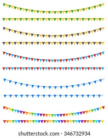 Festive colored flags, different colors rows on white background. vector illustration