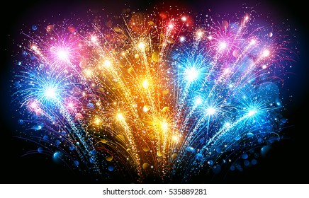 Festive Colorful fireworks on black background. Vector illustration