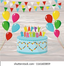 Festive colorful rainbow and a big cake with candles. Happy Birthday. Greeting card or invitation for a holiday. Vector on wooden background.