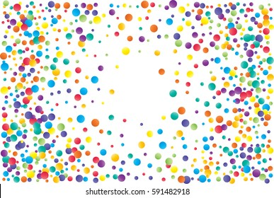 Festive colorful round confetti background. Vector illustration for decoration of holidays, postcards, posters, websites, carnivals, birthday and children's parties.