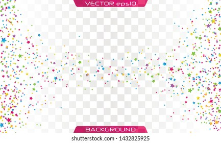 Festive colorful star confetti background. Ecstatic vector illustration. Rectangle vector texture for holidays, postcards, posters, websites, carnivals, birthday and children's parties.