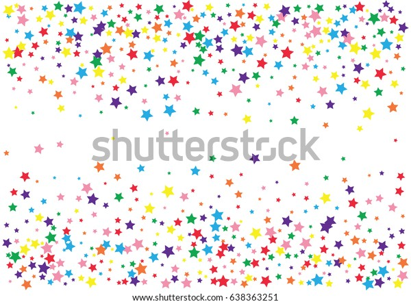Festive colorful star confetti background. Rectangle vector texture for holidays, postcards, posters, websites, carnivals, birthday and children's parties. Cover mock-up