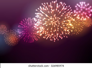 Festive colour firework background. Vector illustration.