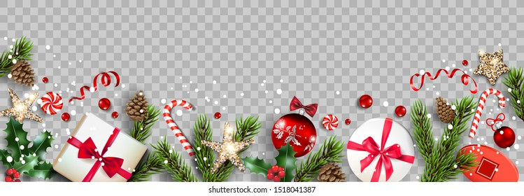 Festive composition with Christmas decorations. Balls, stars, gift boxes, fir tree branches isolated. Winter holiday banner