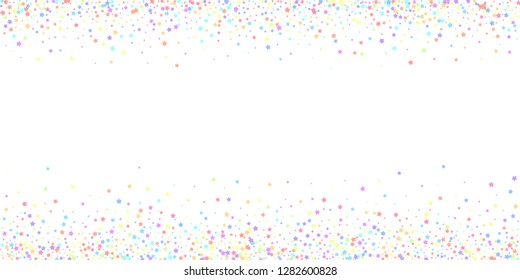 Festive confetti. Celebration stars. Colorful stars on white background. Cool festive overlay template. Symmetrical vector illustration.