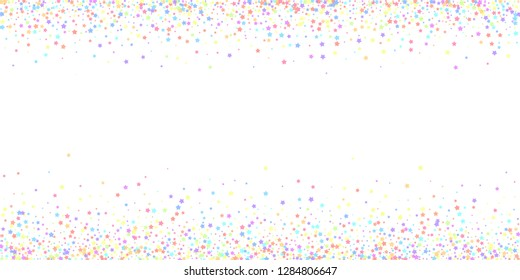Festive confetti. Celebration stars. Colorful stars dense on white background. Cool festive overlay template. Uncommon vector illustration.