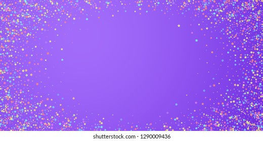Festive confetti. Celebration stars. Colorful stars dense on bright purple background. Elegant festive overlay template. Superb vector illustration.
